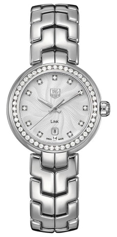 TAG Heuer Link Stainless Steel Silver-Tone Dial Diamonds Date Quartz Womens Watch WAT1414.BA0954