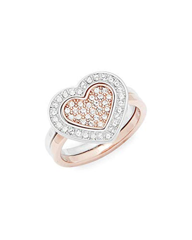 Swarovski Crystal Plated Stainless Steel Heart Ring, 7.25