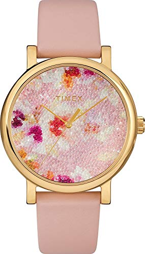 Timex Women's TW2R66300 Crystal Bloom Pink/Gold Floral Leather Strap Watch