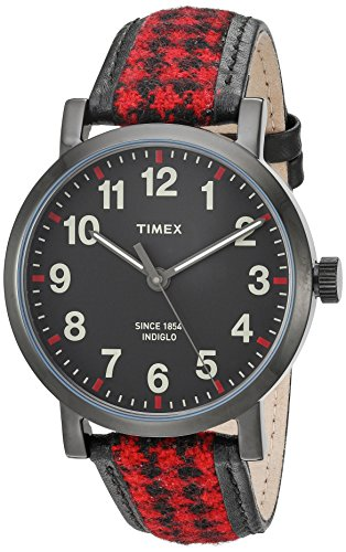 Timex Women's TW2P98900 Originals Houndstooth Black/Red Fabric/Leather Strap Watch