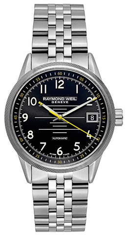 Raymond Weil Freelancer Stainless Steel Analog Automatic Mens Sports Watch Black Dial Calendar 2754-ST-05200