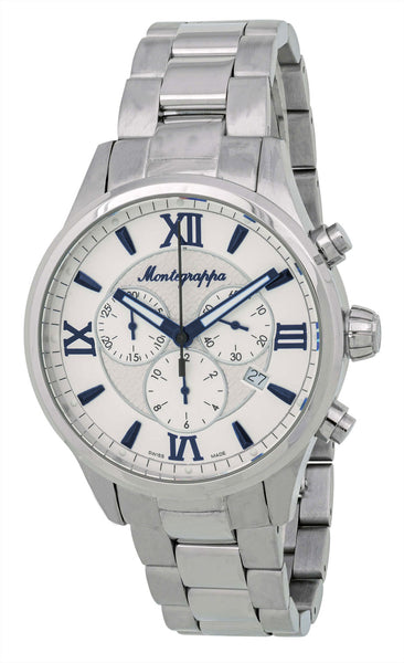 Montegrappa Fortuna Chronograph White Dial Stainless Steel Quartz Men's Watch Date IDFOWCIB