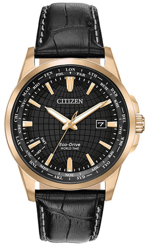 Citizen World Time Perpetual Calendar Rose Gold Steel Black Leather Black Dial Quartz Eco-Drive Date Mens Watch BX1003-08E