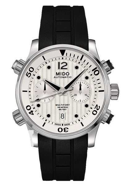 Mido Multifort Automatic Chronograph Black Rubber Strap Silver Dial Date Diver's Mens Watch M005.914.17.030.00