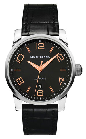 Montblanc Timewalker Black Dial Date Black Leather Strap Automatic Mens Watch 101551
