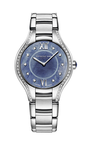 Raymond Weil Noemia Stainless Steel Diamonds Blue Mother-Of-Pearl Dial Quartz Womens Watch 5132-STS-00955
