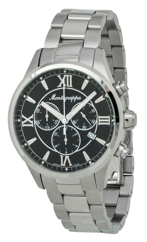 Montegrappa Fortuna Chronograph Black Dial Stainless Steel Quartz Men's Watch Date IDFOWCIC