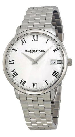 Raymond Weil Toccata Stainless Steel Mens Watch Sapphire Crystal White Dial Calendar Quartz 5588-ST-00300