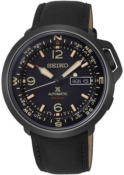Seiko Prospex Automatic Black Stainless Steel Black Dial Black Leather Strap Day/Date Mens Watch SRPD35K1