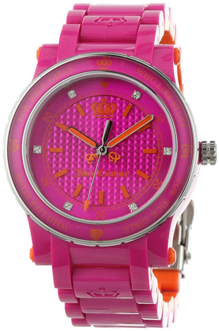 Juicy Couture HRH Pink Plastic Quartz Pink and Orange Dial Girl's Watch 1900727