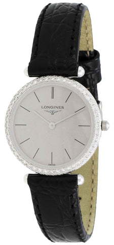 Longines La Grande Classique Agassiz 18kt White Gold & Diamond Womens Watch Grey Dial L4.191.7.72.2