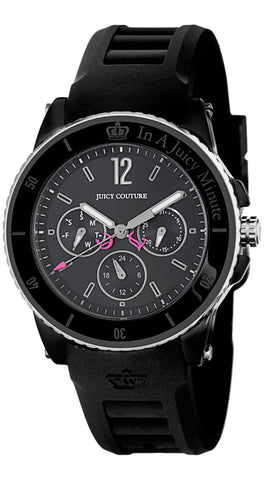 Juicy Couture Pedigree Black Ceramic & Steel Case Quartz Black Dial Black Rubber Women's Watch Day Date 1900754