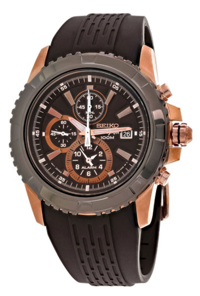 Seiko Chronograph Rose Gold PVD Steel Brown Dial Brown Rubber Strap Alarm Date Quartz Mens Watch SNAE16P1