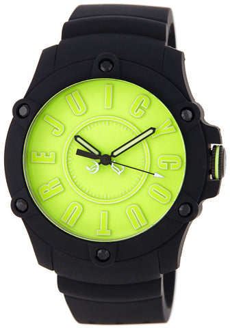 Juicy Couture Surfside Black Rubber Case Analog Quartz Neon Green Dial Women's Watch 1900906