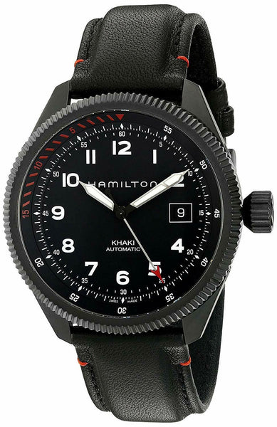 Hamilton Khaki Aviation Takeoff Air Zermatt Automatic Black Steel Black Dial Date Black Leather Strap Mens Watch H76695733