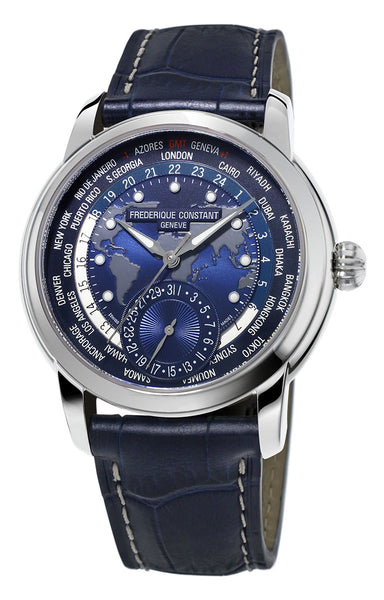 Frederique Constant Classic Worldtimer Manufacture Automatic Blue Dial Blue Leather Strap Mens Watch FC-718NWM4H6