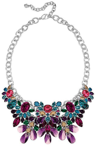 Swarovski Cardinal Rhodium Plated 5113430 Multi-Color Crystal Large Bib Necklace for Women