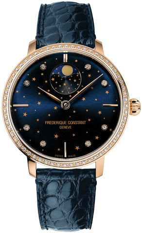 Frederique Constant Slimline Moonphase Stars Manufacture Rose Gold-Plated Blue Leather Strap Blue Dial Diamonds Quartz Womens Watch FC-701NSD3SD4