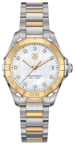 TAG Heuer Aquaracer Steel & Yellow Gold Mother-of-Pearl Dial Diamonds Date Quartz Womens Watch WAY1351.BD0917