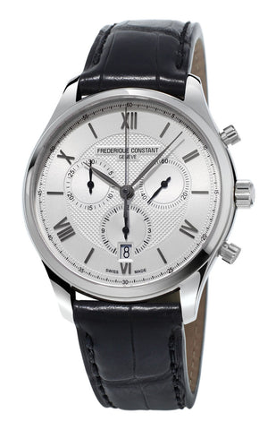 Frederique Constant Classics Chronograph Silver Dial Black Leather Strap Quartz Mens Watch FC-292MS5B6