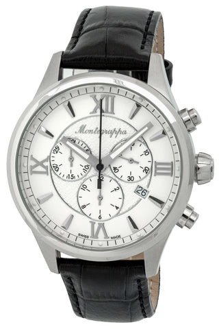 Montegrappa Fortuna Chronograph Date White Dial Black Leather Strap Quartz Men's Watch IDFOWCLJ
