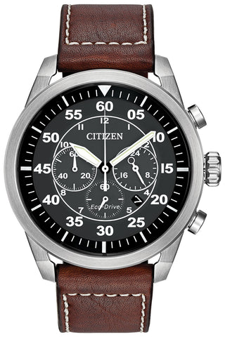 Citizen Avion Chronograph Brown Leather Strap Black Dial Quartz Eco-Drive Date Mens Watch CA4210-24E