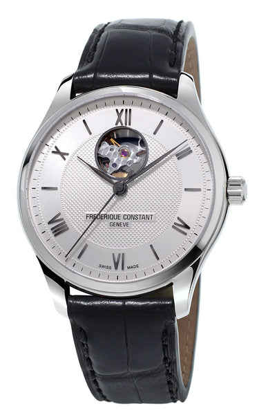 Frederique Constant Classics Heart Beat Automatic Silver Dial Black Leather Strap Mens Watch FC-310MS5B6