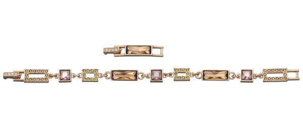 Swarovski Te Ilori Multicolored Crystal Rose Gold Plated Chain Bracelet with Extender for Women 851462