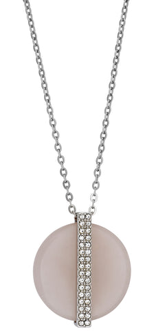 Swarovski Rose Quartz Medium Disk Pink Pendant with Crystals 5190026 Rhodium Plated Steel Chain Necklace for Women