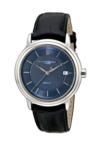 Raymond Weil Maestro Stainless Steel Blue Dial Leather Band Automatic Mens Watch 2837-STC-50001