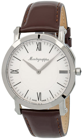 Montegrappa Nerouno Slim White Dial Brown Leather Strap Quartz Men's Watch IDNMWAIW