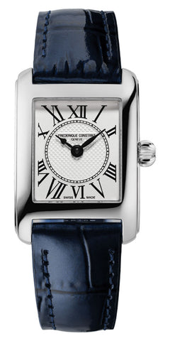 Frederique Constant Classics Carree Stainless Steel Rectangle Case Blue Leather Strap Silver Dial Quartz Womens Watch FC-200MC16