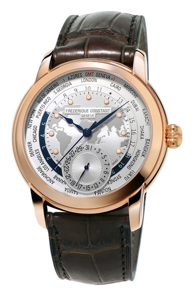 Frederique Constant Classic Worldtimer Manufacture Rose Gold Tone Steel Automatic Silver Dial Brown Leather Strap Mens Watch FC-718WM4H4