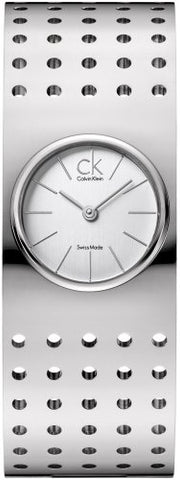 Calvin Klein Grid White Dial Stainless Steel Bangle Ladies Watch K8323120