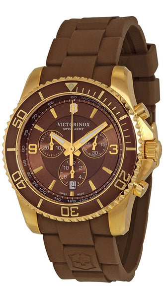 Victorinox Swiss Army Maverick Steel 241692 Mens Watch Chronograph Brown Dial Date