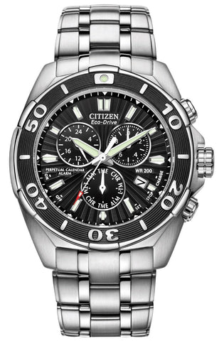 Citizen Signature Chronograph Steel Perpetual Calendar Dual Time Alarm Divers Quartz Eco-Drive Date Mens Watch BL5440-58E