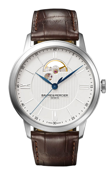 Baume & Mercier Classima Automatic Silver Dial Brown Leather Strap Mens Watch M0A10524