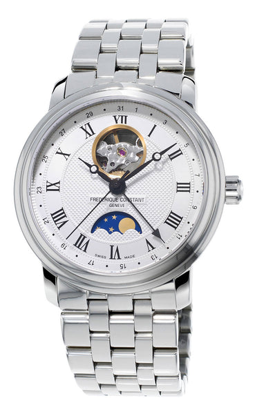 Frederique Constant Classics Heart Beat Moonphase Automatic Stainless Steel Silver Dial Mens Watch FC-335MC4P6B2