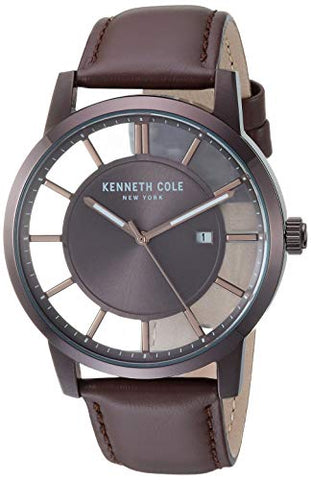 Kenneth Cole New York Men's TRANSPARENCY Stainless Steel Quartz Leather Strap, Brown, 21.4 Casual Watch (Model: KC50560003)