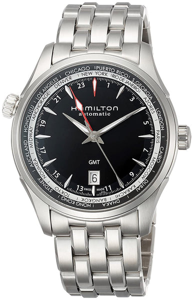 Hamilton Jazzmaster GMT Dual Time Zone World Time Automatic Steel Black Dial Date Mens Watch H32695131