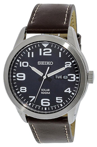 Seiko Solar Brown Leather Strap Dark Blue Dial Day-Date Mens Watch SNE475P1