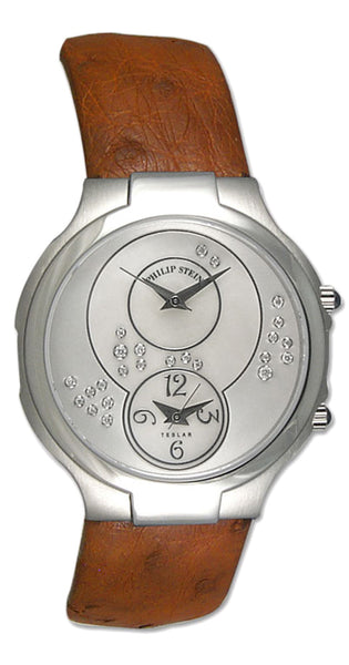 Philip Stein Modern Teslar Steel Mens Strap Watch Floating Diamonds Silver & MOP Dial 7-SCDMOP-OT