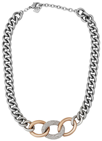Swarovski Bound Crystal Pavé Palladium Plated Steel Rose Gold Chunky Chain Link Necklace for Women 5080040