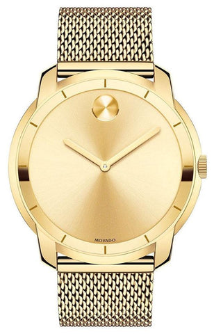 Movado Bold Gold-Tone Stainless Steel Gold Dial Mesh Band Quartz Mens Watch 3600373