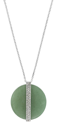 Swarovski Aventurine Disk Large Green Pendant with Crystals 5155510 Rhodium Plated Steel Chain Necklace for Women