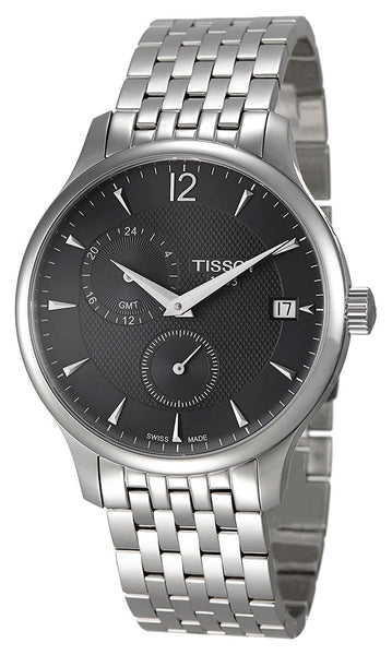 Tissot T-Classic Tradition Stainless Steel GMT Anthracite Dial Date Quartz Mens Watch T0636391106700