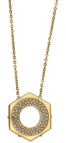 Swarovski Bolt Pendant 5096636 Crystal Pave Yellow Gold Plated Reversible Necklace for Women