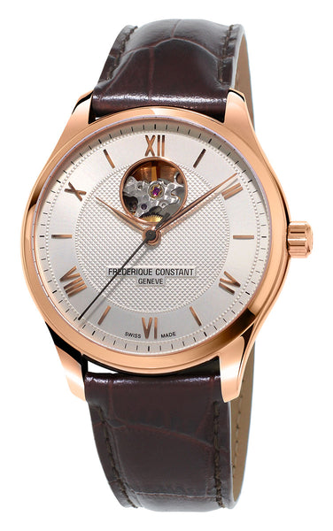 Frederique Constant Classics Heart Beat Rose Gold Tone Steel Automatic Silver Dial Brown Leather Strap Mens Watch FC-310MV5B4