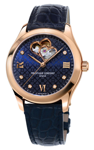 Frederique Constant Double Heart Beat Rose Gold Tone Steel Automatic Diamonds Blue Dial Blue Leather Strap Womens Watch FC-310NDHB3B4