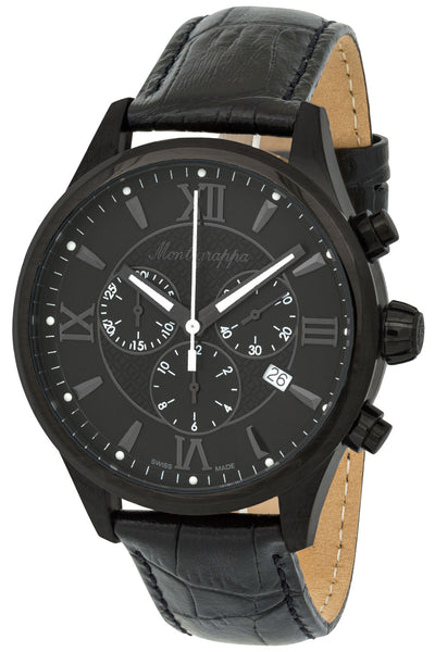 Montegrappa Fortuna Chronograph Black Dial Black PVD Steel Black Leather Strap Quartz Men's Watch IDFOWCLG